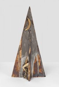 "Pyramid Moonscape, 2012, 19""x10"" x 8"", Gilded Stoneware"
